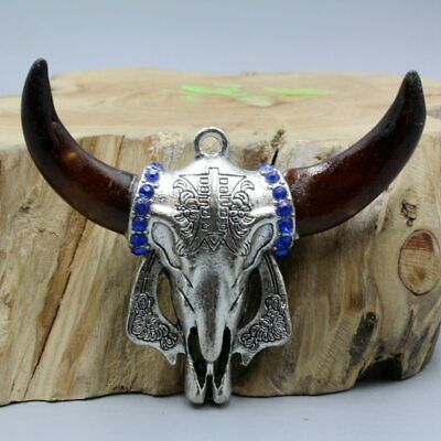 Collect China Tibet Culture Miao Silver Carving Cow Head Good Luck Noble Pendant