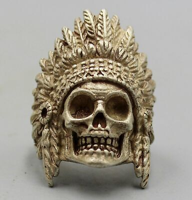 Collect China Handwork Miao Silver Carving Skeleton Head Exorcism Good Luck Ring