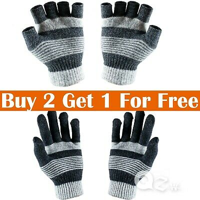 Mens Womens Winter Warm Knit Wool Insulated Fleece Magic Gloves Mitten New