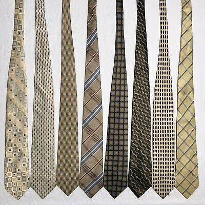 8 Men's Ties ALL LONG Gold Burma Bibas Beene Blass Yellow Beige Silk Tie Lot