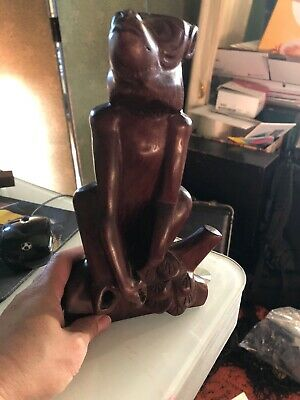 Vintage Hand Carved Wooden Monkey Statue Figurine Sculpture 10 inches