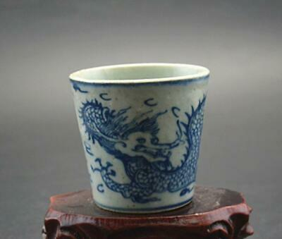 chinese old Blue and white porcelain hand-painted dragon grain flower pot 08682