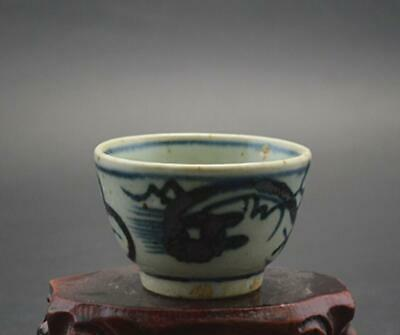 chinese old Blue & white porcelain hand-painted dragon pattern flower pot 08678