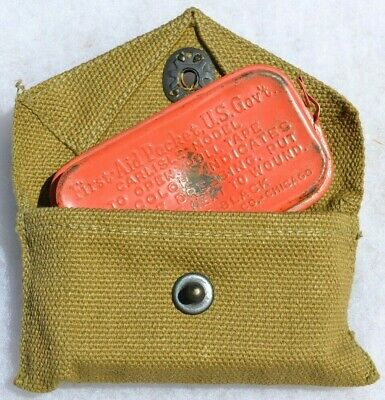Us Wwii Medic Belt Pouch And Can With Contents First Aid Packet U.s. Army Ww2