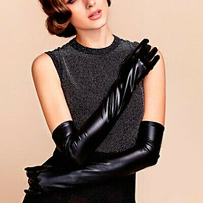 Women Latex Long Gloves Shiny Wet Look Faux Leather Mittens Party Opera Costumes