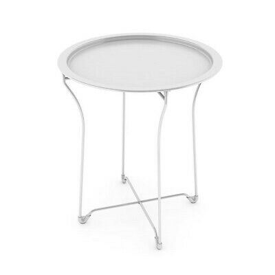 Atlantic Metal Folding Metal Side Table Tray White Round High Quality