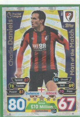 2017/2018 Match Attax Extra Man Of The Match MA1 Charlie Daniels Bournemouth