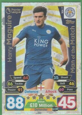 17/18 Match Attax Extra Man Of The Match MA17 Harry Maguire Leicester