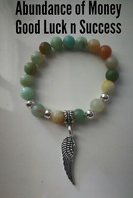 Code 241 Abundance of Money Good Luck n Success Amazonite Infused Bracelet Signs