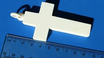Antique Victorian VERY LARGE CARVED bakelite Cross Pendant