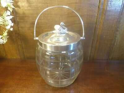 ANTIQUE WILLIAM HUTTON Silver Plated CUT GLASS BISCUIT BARREL with SWAN FINIAL