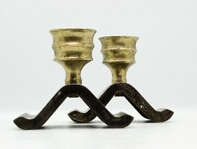 Wrought Iron and Brass Candle Holder