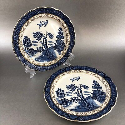 """Royal Doulton Booths Real Old Willow Majestic 2 X 6"""" Bread Plate Antique England"""