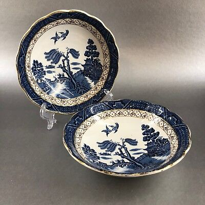 """Royal Doulton Booths Real Old Willow Majestic 2 x6"""" Cereal Bowls Antique England"""