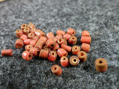 (15) Original Excavated Red White Heart Indian Trade Beads Venetians 1700's