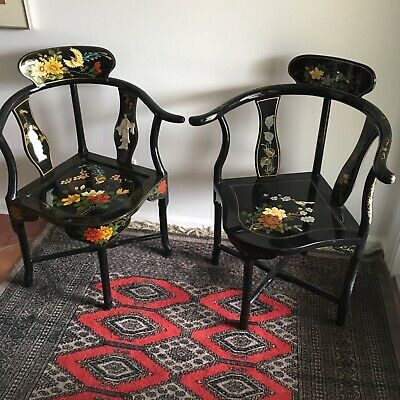 Pair Chinese Asian Mother of Pearl Corner Chairs