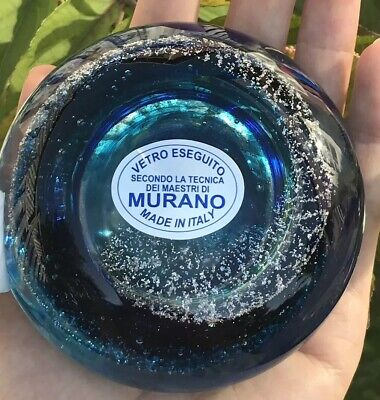 Authentic Murano Blue Art Glass Vase; Mouth Blown, Hand Made - Canadian Seller