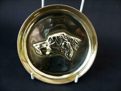 Vintage Brass Pin Dish With Pointer Hound In Bas Relief - Pointer Dog Pin Dish