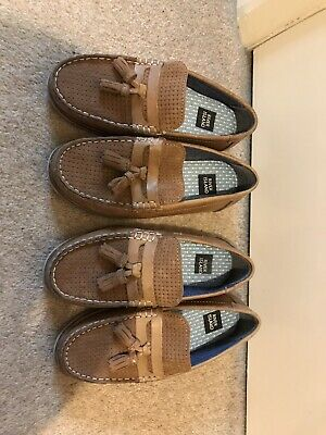 Two Pairs Of River island Brown Leather Boys Slip On Shoes Size 12