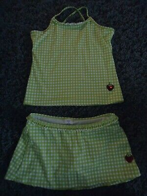 Lands End Kids Two Piece Tankini Skirt Size 14+ Plus Strawberry Green Checkered