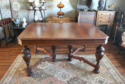 Antique Dining Table with Six Ornamental Bulbous Legs with Stretcher