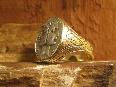 Authentic Ancient Roman Janus head of the dioscurii 14K Gold Mens Ring!