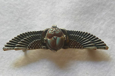 Vintage Art Deco Silver Plated & Enameled  Winged Egyptian Scarab Brooch