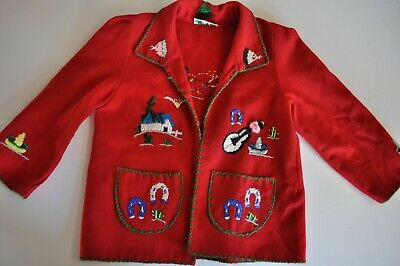 Vintage Lopez Children's Jacket Made in Mexico Wool From Red Long Sleeve Cute
