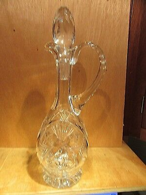 Vintage Crystal Glass Cruet Intaglio Flower Buds & Leaves Notched Handle & Neck