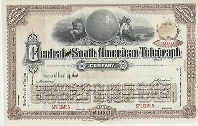Central And South American Telegraph Company Specimen Stock Certificate Rare