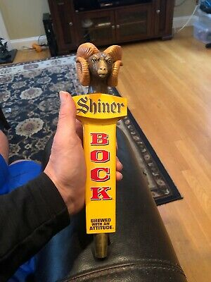 Shiner Bock Ram's Head Wooden Beer Tap Handle Rare Ver Brewed With An Attitude!