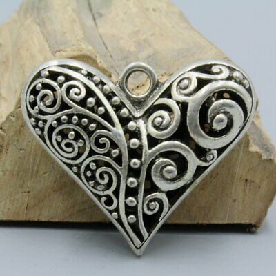 Collectable China Tibet Culture Miao Silver Hand-Carved Heart Shape Rare Pendant