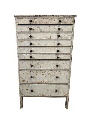 Antique Industrial Vintage Pine Engineers Haberdashery Chest Of Drawers