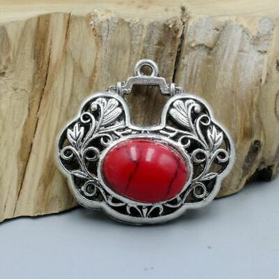 Collectable China Tibet Culture Miao Silver Handwork Inlay Red Agate Old Pendant