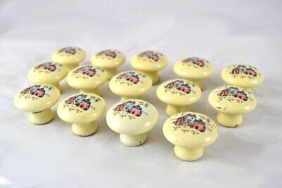 Qty 14 Salvage Vintage Ceramic Farmhouse Country Cabinet Drawer Knobs / Pulls