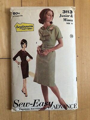 Vintage Advance Sew-Easy 3113 Pattern Junior And Misses Dress Size 11 1960s