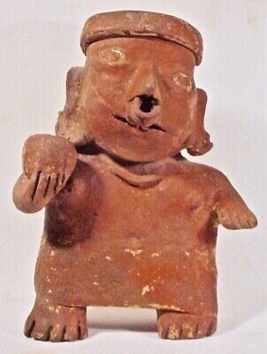 Pre-Columbian Nayarit STANDING FEMALE W/BOWL COA