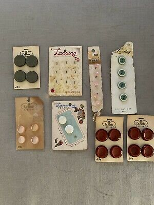 Vintage/Antique Lansing and La Mode Buttons on cards