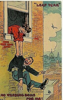 Leap Year 1912 , Co mic .No Wedding Bells for Me.Postcard