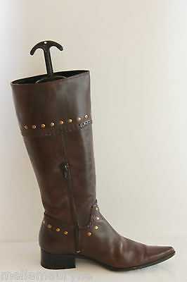 Boots Pointed Trinity Brown Leather T 40 Very Good Condition