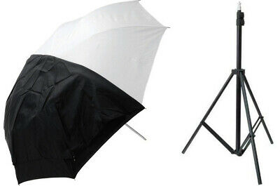Westcott 43inch Collapsible Umbrella Flash Kit with Stand - White Satin Black