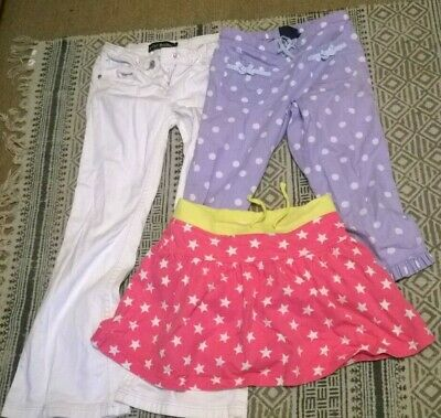 Mini Boden girl 7-8 years skorts jeans cropped trousers white red stars spots