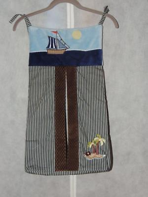 Nojo Ahoy Mate Diaper Stacker Nautical Sail Boat Palm Tree Blue Brown