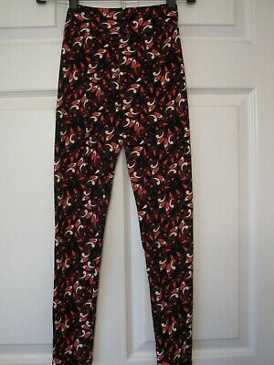 LulaRoe Tween Leggings New NWOT Girls Kids Stretch Pants Black Pink Print Teen