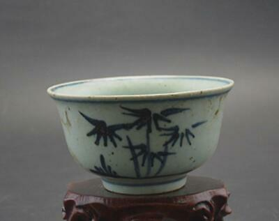 chinese old Blue & white porcelain hand-painted bamboo pattern flower pot 08691
