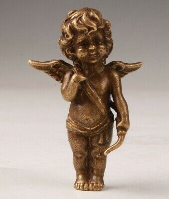 China Bronze Hand Casting Angel Figurine Statue Spiritual Gift Collection Old