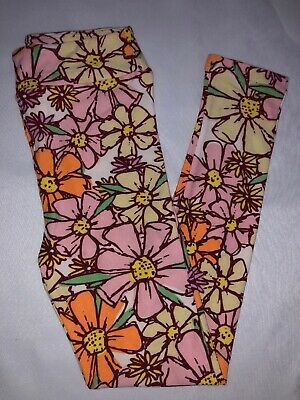 (BoxI) LuLaRoe Kids Leggings L/XL New White W/ Pink Yellow Orange Floral Pattern