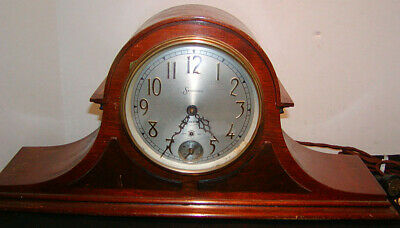 Antique SESSIONS MANTEL CLOCK Large Tambour Type Electric, w/ Second Hand, Chime
