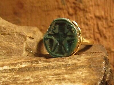 Authentic Ancient Egyptain Scarab solid Gold setting SIZE 2 Womens/Girls Ring!