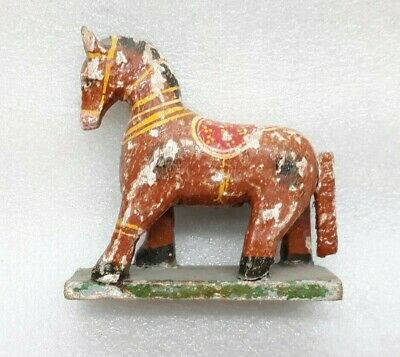Antique Old Wooden Hand Crafted Painted Horse Figurine Statue Sculpture MP